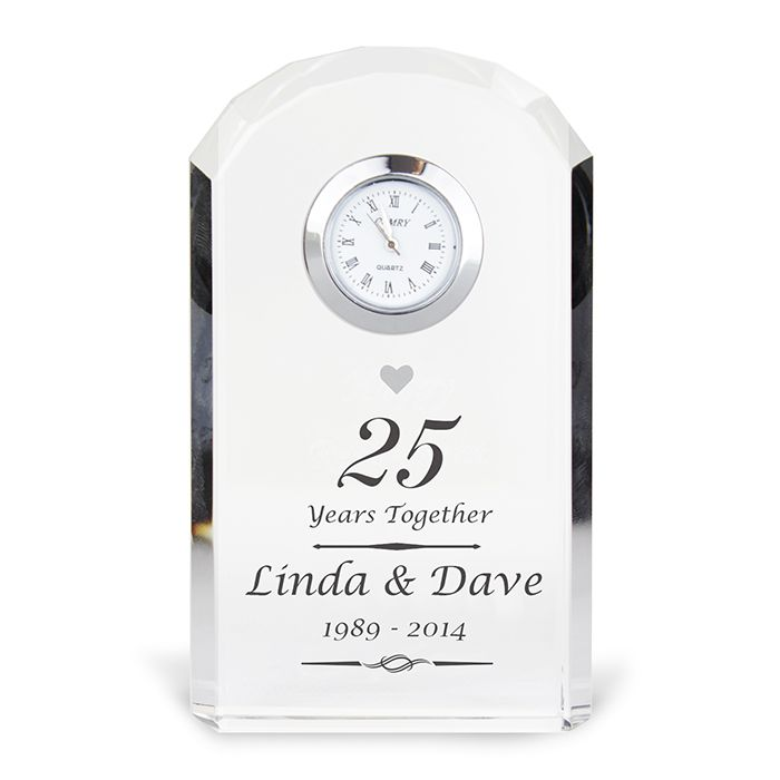 25 Wedding Anniversary Gift.Personalised 25th Silver Wedding Anniversary Crystal Clock