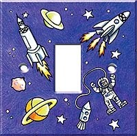 Space Rocket Decorative Light Switch Cover