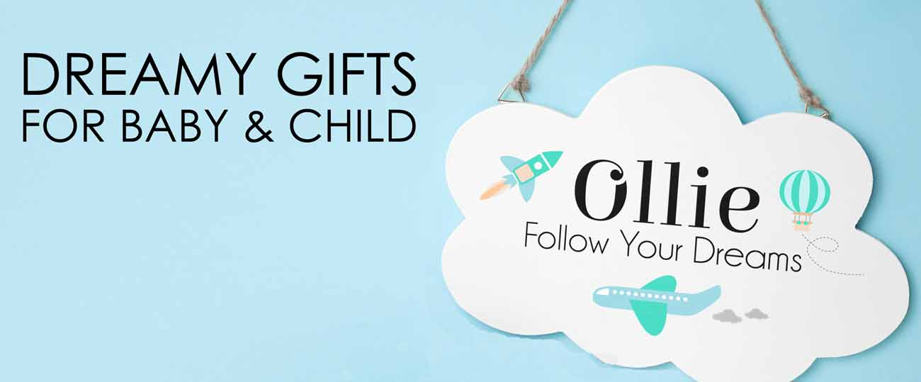 personalised baby gifts banner